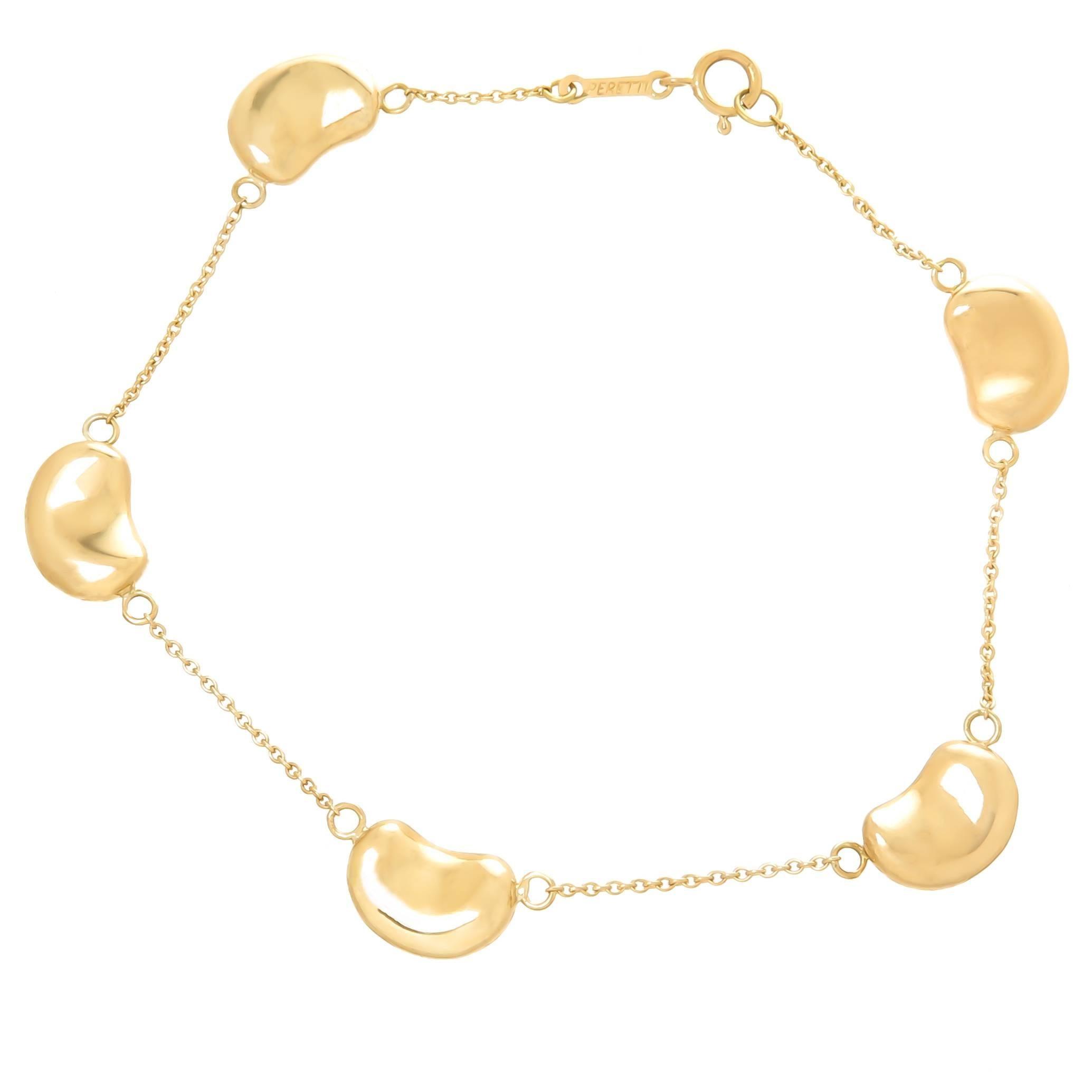 Elsa Peretti Yellow Gold Bean Bracelet For At 1stdibs