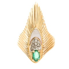 Erte Gold and Gem Set Rayonnement Ring