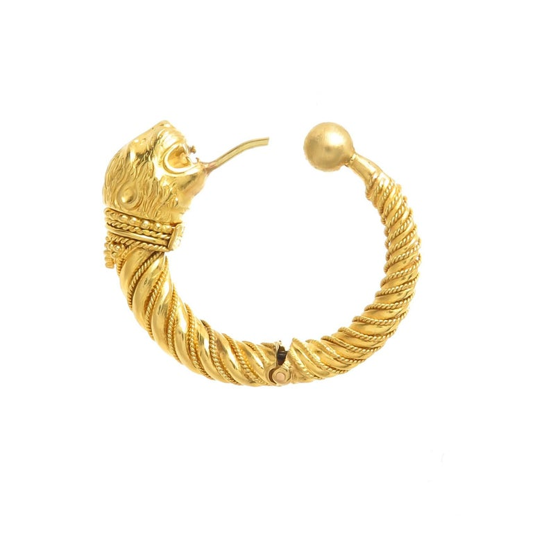 Clical Greek Lalaounis 22k Gold Lion Head Chimera Hoop Earrings For