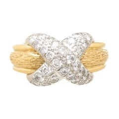 Tiffany & Co. Jean Schlumberger Platinum Gold and Diamond Classic X Ring