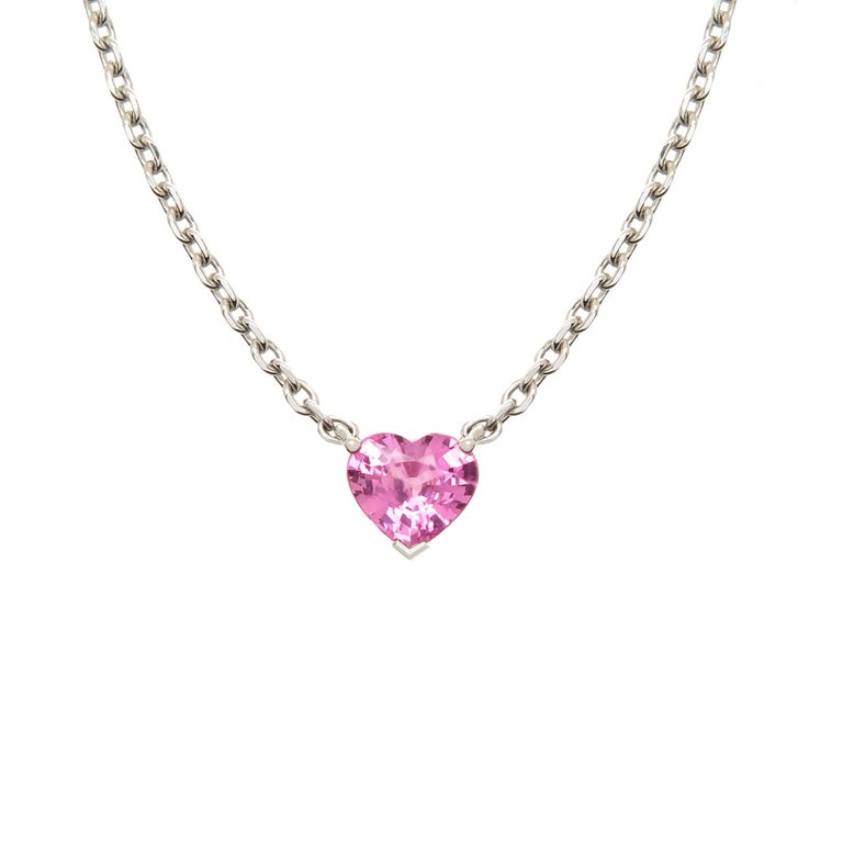 Cartier white gold and pink heart shape sapphire pendant necklace cartier white gold and pink heart shape sapphire pendant necklace for sale aloadofball Image collections