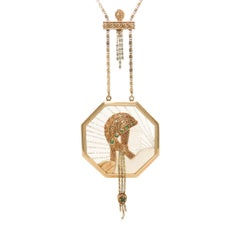 Erte Wings of Victory Gold Crystal and Gem Set Necklace