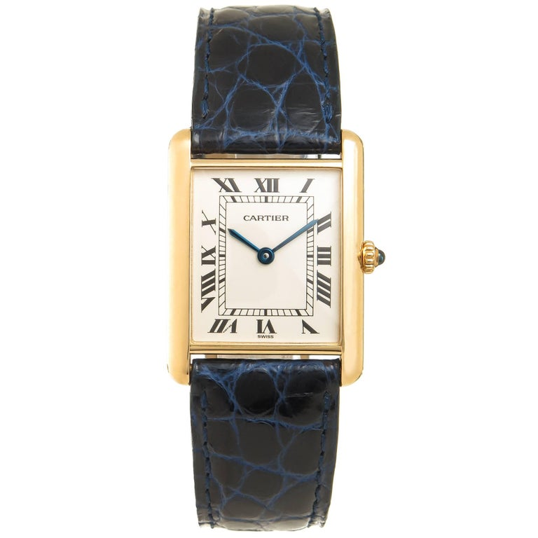 Cartier Yellow Gold Classic Tank Quartz Wristwatch For Sale