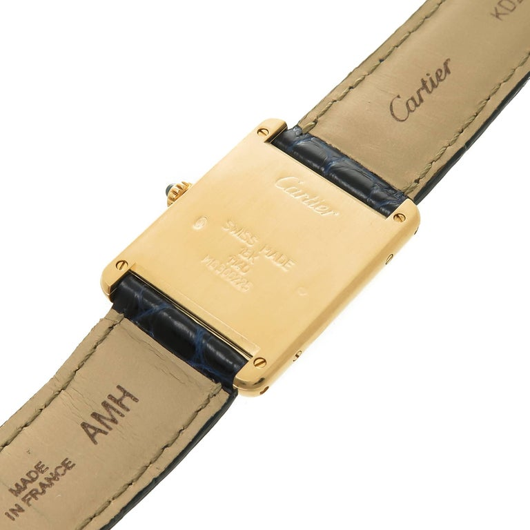 Cartier Yellow Gold Classic Tank Quartz Wristwatch In Excellent Condition For Sale In Chicago, IL