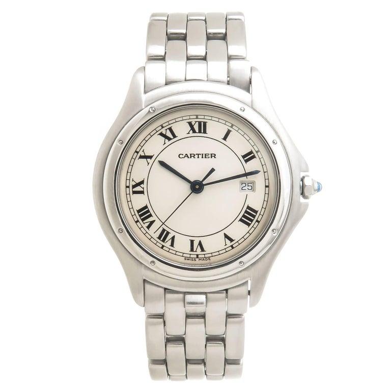 Cartier Stainless Steel Cougar Large Quartz Wristwatch