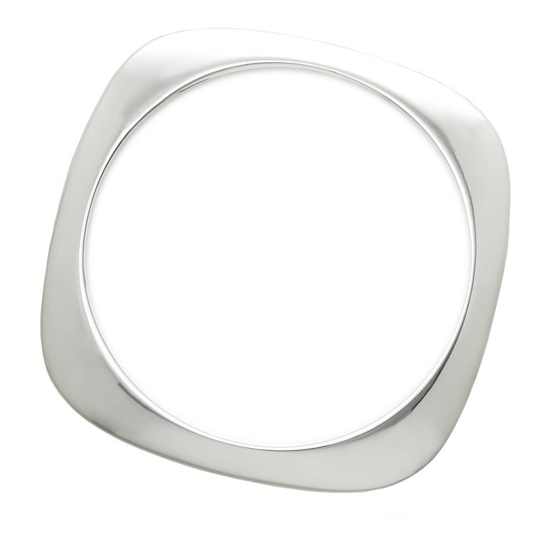 Tiffany & Company Silver Square Cushion Bangle Bracelet For Sale