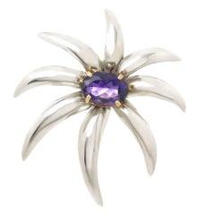 Tiffany & Company Gold Silver Amethyst Fireworks Brooch