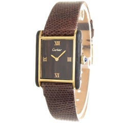 Cartier Yellow Gold Mahogany Wood Tank Mechanical Wristwatch, 1970s