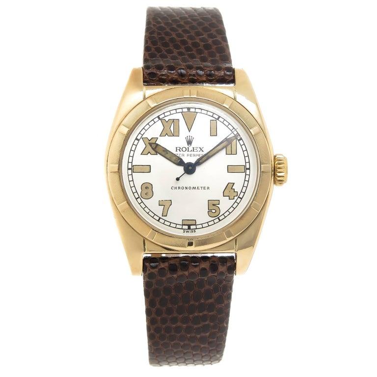 Rolex Yellow Gold Bubbleback Self Winding Wristwatch, circa 1940s