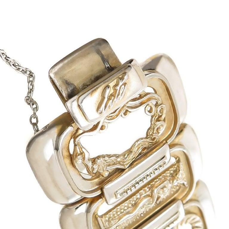 Women's or Men's Erte Art Deco Silver Numbers Suite Bracelet, 1980s For Sale