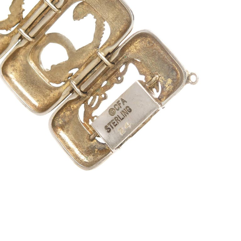 Erte Art Deco Silver Numbers Suite Bracelet, 1980s In Excellent Condition For Sale In Chicago, IL