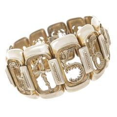 Erte Art Deco Silver Numbers Suite Bracelet, 1980s