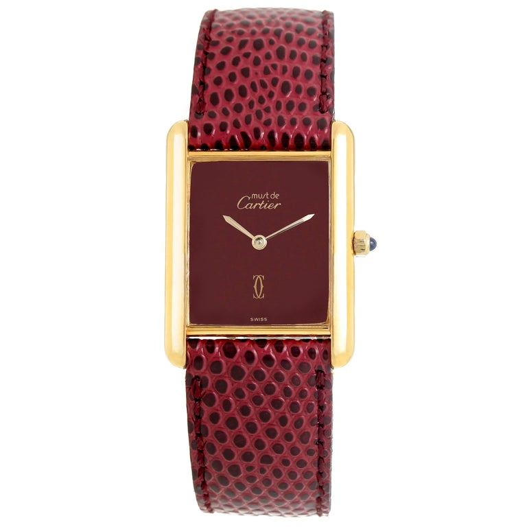 Cartier Vermeil Burgundy Dial Quartz Wristwatch, circa 1990 For Sale