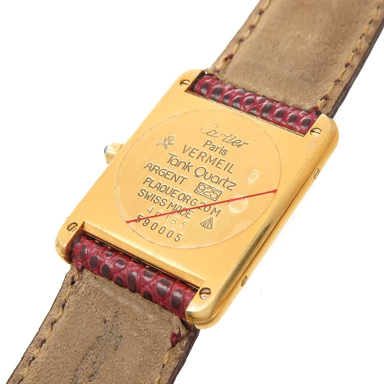 Cartier Vermeil Burgundy Dial Quartz Wristwatch, circa 1990 In Excellent Condition For Sale In Chicago, IL