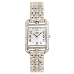 Hermes Ladies White Gold Diamond Cape Cod Quartz Wristwatch