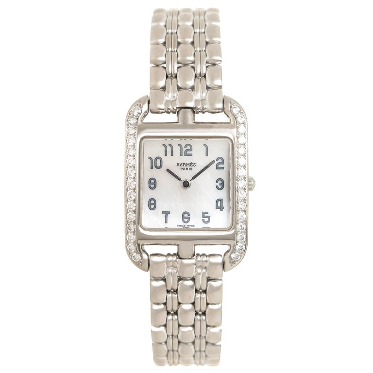 Hermes Ladies White Gold Diamond Cape Cod Quartz Wristwatch