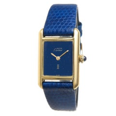 Cartier Ladies Yellow Gold Tank Blue Dial Manual Wind Wristwatch