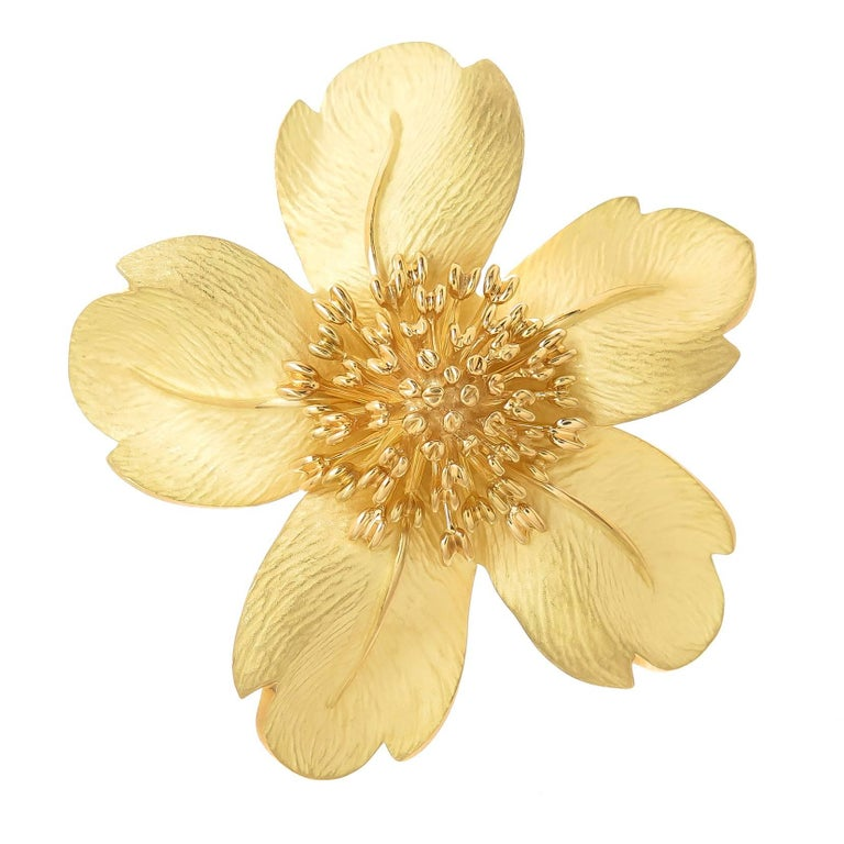 Tiffany and co diamond gold flower brooch pin at 1stdibs yellow gold large flower pin brooch mightylinksfo