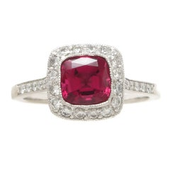 Tiffany & Co. Diamond Fine Rubellite Platinum Ring