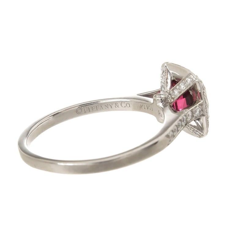Cushion Cut Tiffany & Co. Diamond Fine Rubellite Platinum Ring For Sale