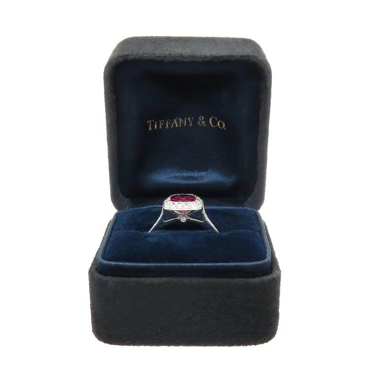 Tiffany & Co. Diamond Fine Rubellite Platinum Ring In Excellent Condition For Sale In Chicago, IL