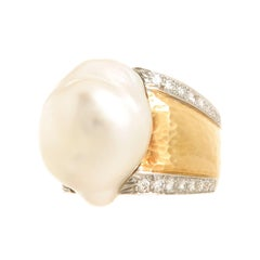 David Webb Large Diamond Pearl Gold Ring
