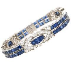 Oscar Heyman Art Deco Platinum Diamond and Sapphire Bracelet