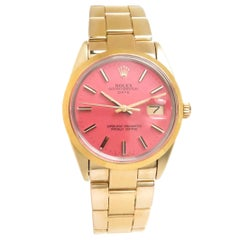 Rolex Yellow Gold Shell Custom Dial Oyster Date Automatic Wristwatch Ref 15505