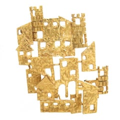 Zolotos Yellow Gold Buildings Brooch