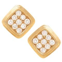 Harry Winston Yellow Gold and Diamond Earrings