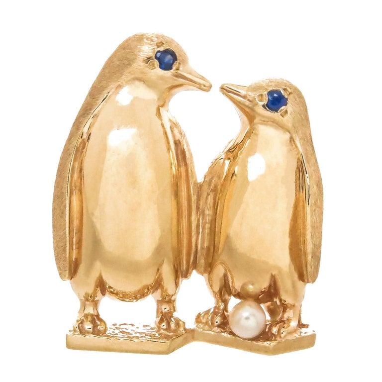 Dankner Yellow Gold and Gem Set Penguins Brooch