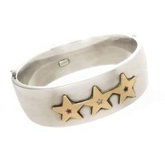 Tiffany & Co. Bicentennial Sterling Gold and Gem Set Bangle Bracelet