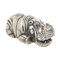 Russian 84 Silver Figural Hippopotamus Desk Piece
