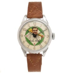 Exacta Time Corp Stainless Steel Babe Ruth Mechanical Wristwatch, circa 1948