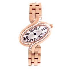 Cartier Ladies Rose Gold Diamond Delices Quartz Wristwatch