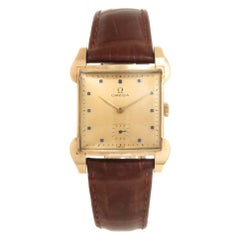 Omega Yellow Gold Large Manual Wind Wristwatch, Circa 1940s