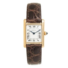Cartier Paris Ladies Yellow Gold Tank Mechanical Wristwatch, 1980s