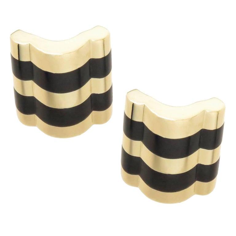 Angela Cummings Yellow Gold and Onyx Earrings