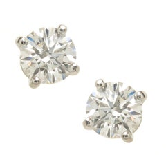 Tiffany & Co. 1.15 Carat Platinum set Diamond Stud Earrings
