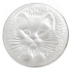 Lalique France Frosted Crystal Cat Brooch
