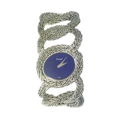 Piaget White Gold Lapis Dial Large and Impressive Mechanical Bracelet Watch