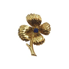 Van Cleef & Arpels Paris Gold and Gem Set Flower Brooch