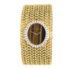 Baum & Mercier Gold Diamond and Tigers Eye Dial Ladies Bracelet Wristwatch