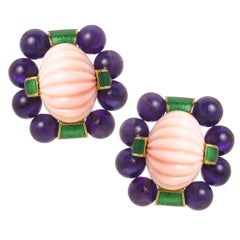 David Webb Gold Coral and Amethyst Large Impressive Earrings