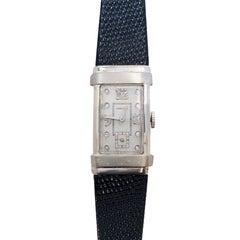 Hamilton White Gold and Diamond Set 1940s Top Hat Wristwatch