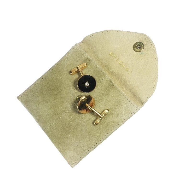 Bulgari Gold Onyx and Diamond Cufflinks