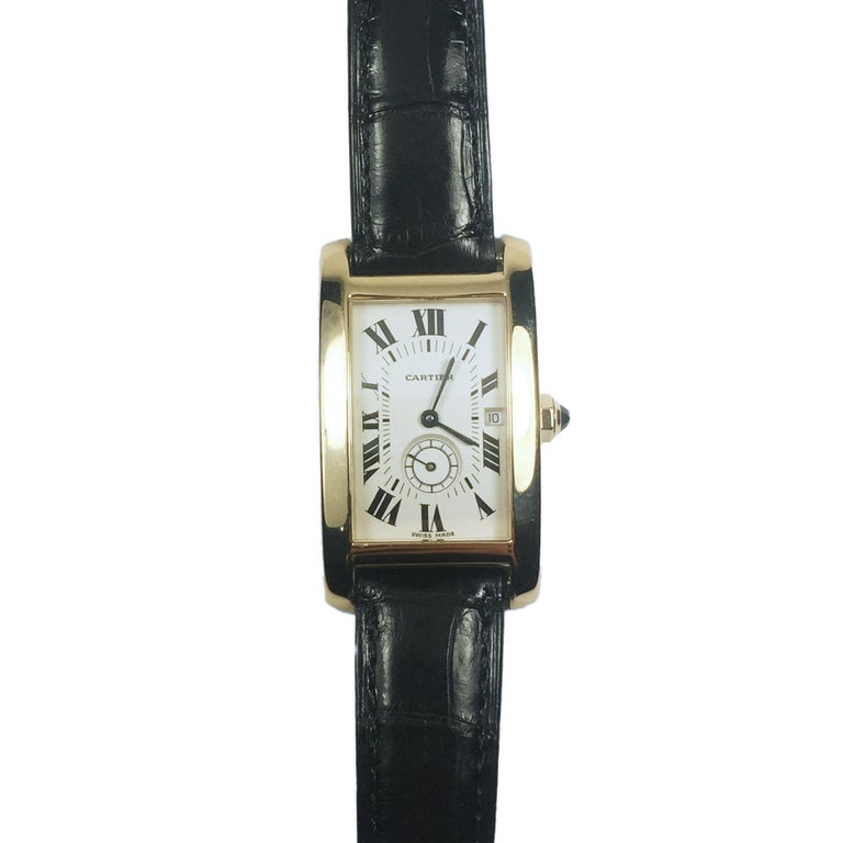 Cartier Tank American Yellow Gold Large Quartz Wristwatch