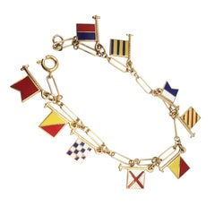 "1950s Gold and Enamel ""Bon Voyage"" Nautical Flags Bracelet"