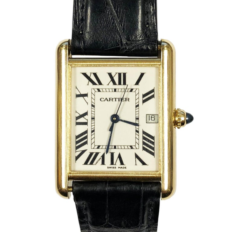 Cartier Large Yellow Gold Classic Tank Quartz Wristwatch