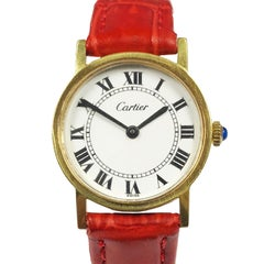 Cartier 1970s Gold Plate Mechanical Wind Ladies Wristwatch